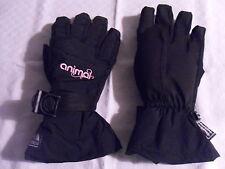 Girls Animal Waterproof Insulated Fleece Lined Black Ski Gloves Medium