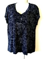 WOMEN'S CHICO'S TRAVELERS BLACK PALM TREE SHORT SLEEVE SLINKY STRETCHY TOP 3