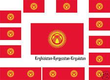 Assortiment lot de10 autocollants Vinyle sticker drapeau Kirghizistan-Kyrgyzstan
