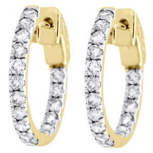 """10K Yellow Gold Diamond In & Out Hoops Round Hinged Earrings 0.65"""" Long 1 CT"""