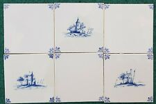 "6 VINTAGE DUTCH DELFT BLUE WHITE OXHEAD CORNERS 3 OPEN AIR TILES 13X13 CM (5X5"")"