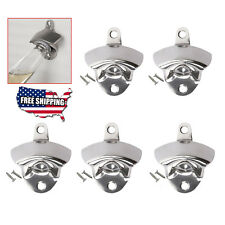 5 pcs New Stainless Steel silver Wall Mount Beer soda Bottle Opener with Screws