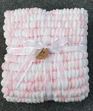 Super Soft pink and white hand Knitted Pom Pom Blanket large 55 x 80cm