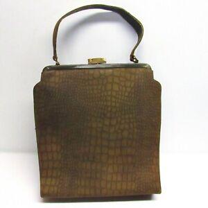 Vintage 50s Tower Chicago Purse Olive Leather Animal Skin Textured Handbag Clasp