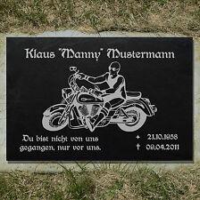 Grabstein GRABPLATTE Gedenkplatte Biker 02►Gravur Ihr Text Motiv◄ 30 x 20 cm