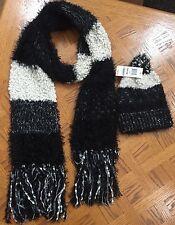 $92 (NWT) Charter Club Women's Black Soft Long Scarf & Beanie Hat w/Pom One Size