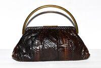 Vintage Dark Brown Snakeskin Gold Tone Handle Attached Coin Purse Puffy Handbag