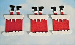Felt die cut layered Christmas santa in chimney x 3 embellishments toppers