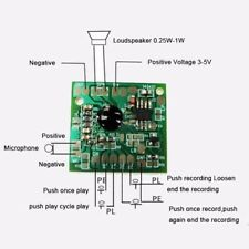 120s Recordable Chip Voice Module Sound Playback Board 3-5V For Greeting card