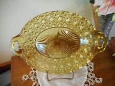 EAPG DAISY & BUTTONS AMBER OVAL GLASS TRAY PLATTER W/HANDLES
