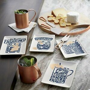 Crate & Barrel Moscow Mule & Tiki Zombie Snack Cocktail Party/Appetizer Plates 4