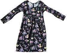 AGNES B. Black Floral Bouquet Print Dress Sz M (8) Long-Sleeved Empire Waist