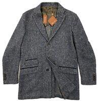 $3,200 Loro Piana Herringbone Blue Car Coat Cashmere Wool Size L Made in Italy