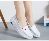 Women Leather White Slip on Loafers Mary Jane Flat Nurse Comfy Work Casual Shoes
