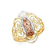 14k Tricolor Gold Virgin of Guadalupe Ring Oro Solido Virgen de Guadalupe Anillo