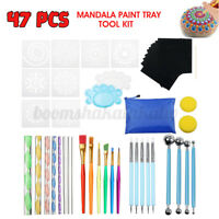 47Pcs Mandala Dotting Tools Art Rock Dot Stencil Tray Painting Set
