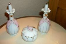 Ladies Hand Holding Porcelain Vanity Set Perfume Powder Vintage Chic Shabby Rare