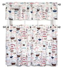 "Kitchen Curtains Set: 2 Tiers (28"" x 36"") & Valance (56"" x 15""), COFFEE TYPES"