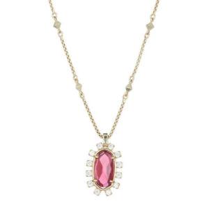 "Kendra Scott Brett Womens Pink Berry Stone Pendant CZ Gold Necklace 28""  NWT"