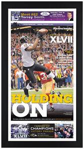2013 Baltimore Ravens Super Bowl Champions Newspaper Print Framed! 2/4 C