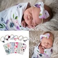 Newborn Baby Kids Floral Swaddle Wrap Swaddling Sleeping Bag Blanket Headband