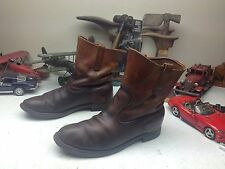 DISTRESSED L.L. BEAN DISTRESSED BROWN LEATHER ENGINEER BOOTS SIZE 10.5 M