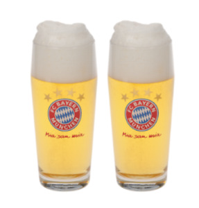 BAYERN MUNICH 2 PACK PINT GLASS SET IN GIFT BOX OFFICIALLY LICENSED MIA SAN MIA