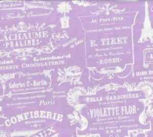 LakeHouse Sausalito Cottage Parisian French Words/Labels LH13063 Lilac Fab BTY