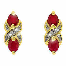 Diamond Ruby Oval Yellow Gold Fine Gemstone Earrings