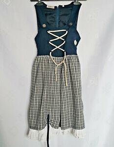 VINTAGE LANDHAUS OKTOBERFEST DIRNDL TYROL PLAID LINEN BLEND GIRLS DRESS:08/128