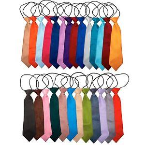 Tie Co Kids Childrens Elastic Elasticated Pre Tied Tie - All Colours + Black