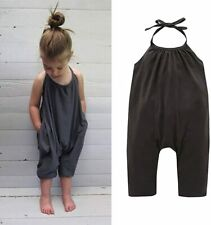 Darkyazi Baby Summer Jumpsuits for Girls Kids Cute Backless, Grey, Size 7T