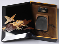 Vintage Japanese Lacquer Sparrow Maki-e Inkstone Box