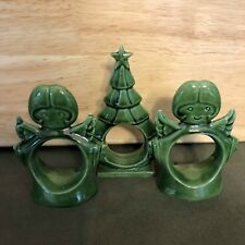 Lot of 3 Vintage Christmas Green Ceramic Napkin Rings Angels and Tree