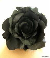 "5"" Jet Black Rose Poly Silk Flower Hair Clip,Goth,Rockabilly,Pin Up,Updo"