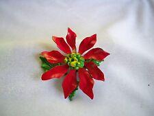 50's Vintage Red & Green Enamel Poinsettia Flower Layered Brooch