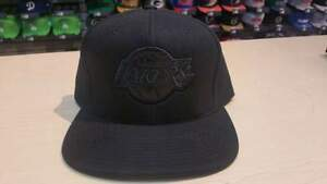 Mitchell & Ness NBA Los Angeles Lakers Logo Classic Blacked Out Fitted Cap Hat