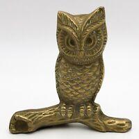 T155: Vintage Brass Owl Bird Figurine Ornament Collectable