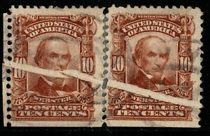 1903 US 307 - 10c Webster Used Pair with Significant EFO Pre-Printing Paper Fold