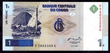 Congo. D.R. One Franc, F7802358G, 1-11-1997, Almost Uncirculated - Uncirculated.