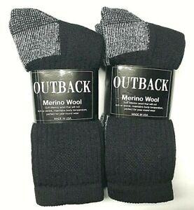 2 / 4 Pair Premium Men 71% Merino Wool Black Crew Sock Size 10-13 Made in USA
