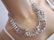 STRASS Collier Damen Hals Kette Modekette kurz Kristall Silber Statement BR091