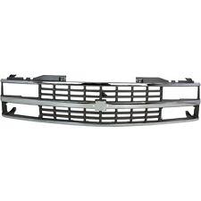 Grille For 88-93 Chevrolet C1500 K1500 Chrome Shell w/ Silver Insert Plastic
