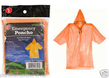 Orange Emergency Rain Poncho Camping Hiking Sport Bug-Out-Bag Disaster Outdoor