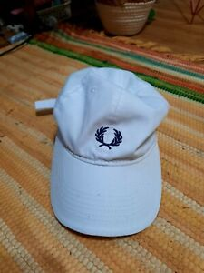 Vintage White Navy Fred Perry Sports Cap Hat