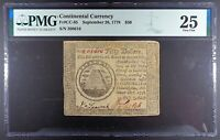 "1778 Continental Currency $50 Note, ""Perennis"", CC-85, PMG VF-25."
