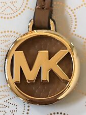 New Michael Kors MK Gold Charm / Acorn Brown Leather Strap Handbag Fob Hang Tag