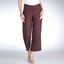 La Redoute BEIGE ecru 100% linen cropped wide leg trousers UK 10 E.U 38 25L