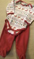 EUC Baby Boys 2-Piece CHICK PEA Outfit Pants Set Christmas Trees Deer 6-9 Months