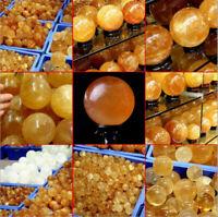 30-80mm Natural Citrine Yellow Quartz Stone Crystal Sphere Ball Healing Gemstone